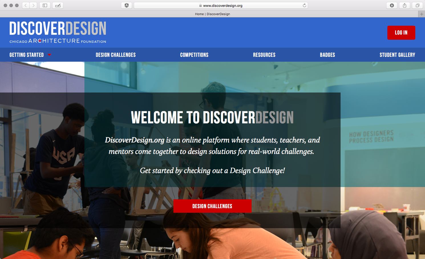 Screenshot of homepage for DiscoverDesign.org