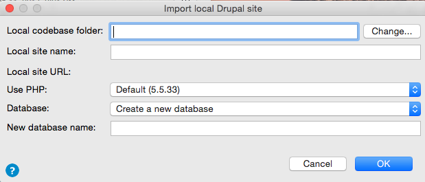 Importing local site