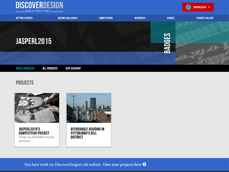 DiscoverDesign public profile for students